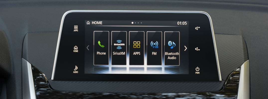 A photo of the touchscreen used by the Mitsubishi Smartphone Link system in many of the automaker's vehicles.