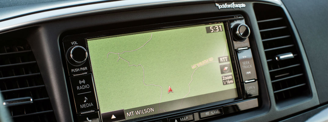 A photo of the navigation system in an older Mitsubishi model.