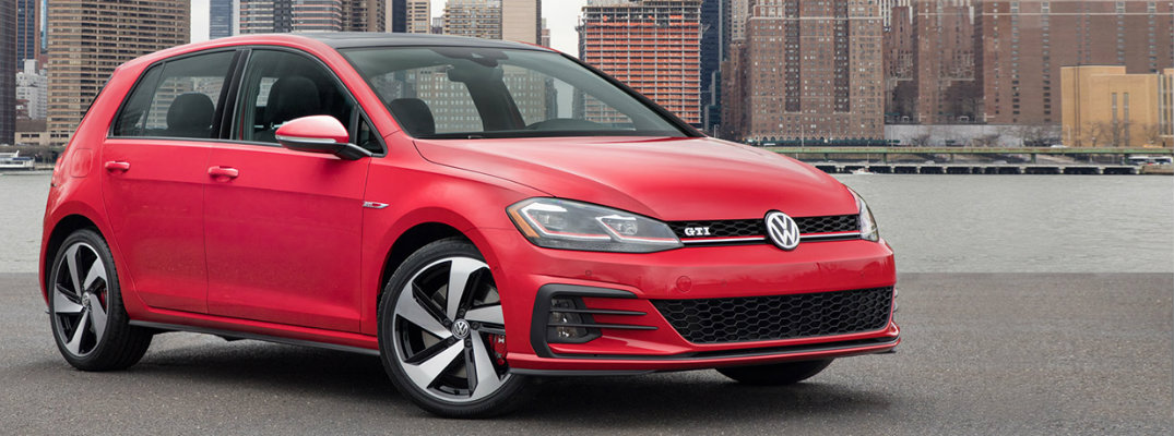2018 VW Golf GTI with cityscape in background