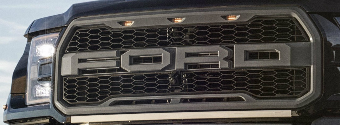 Close-up of the grille of the 2018 Ford F-150 Raptor