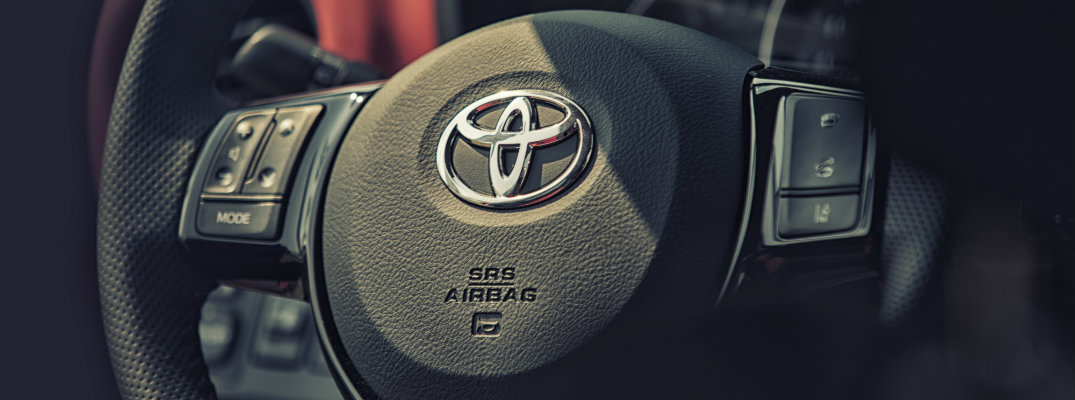 View of the steering wheel on a Toyota vehicle
