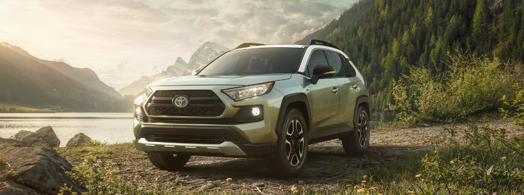 2019 Toyota RAV4 in front of mountains