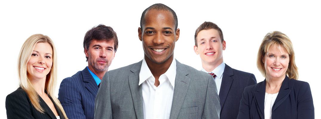 Group of business professionals in a row