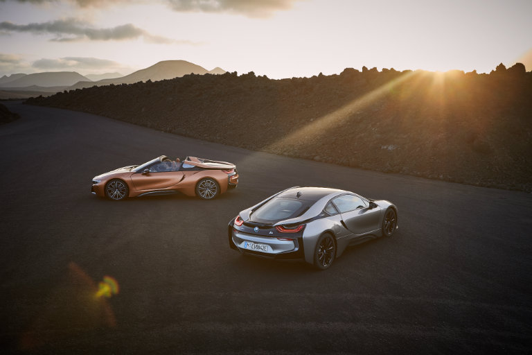Two, 2019 BMW i8 models in the setting sun