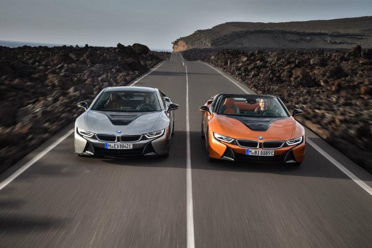 Two, 2019 BMW i8 side-by-side