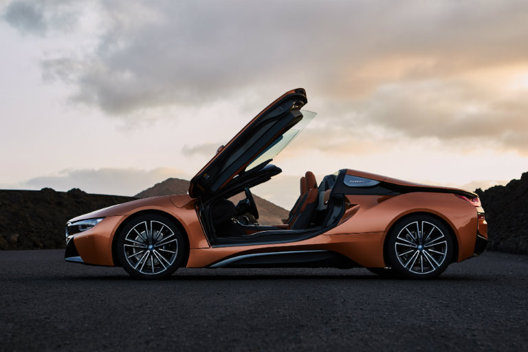 2019 BMW i8 Roadster with doors up