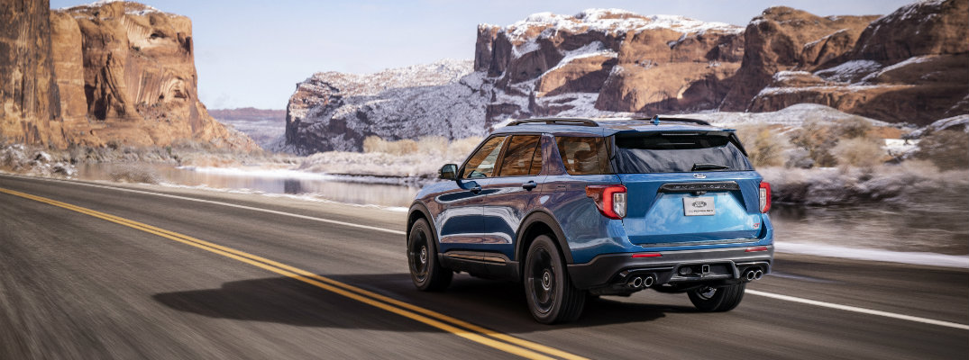 2019 Ford Explorer ST driving through mountains