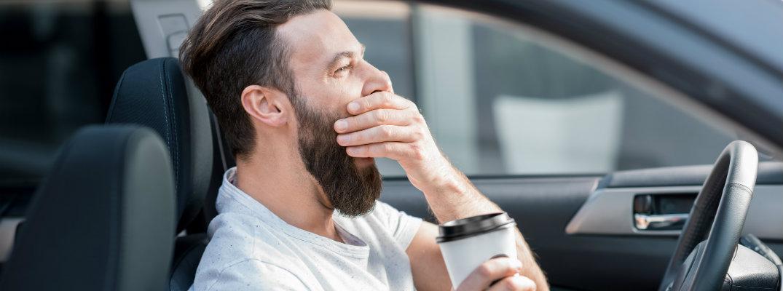 A driver yawning