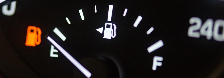A vehicle's fuel gauge running on empty
