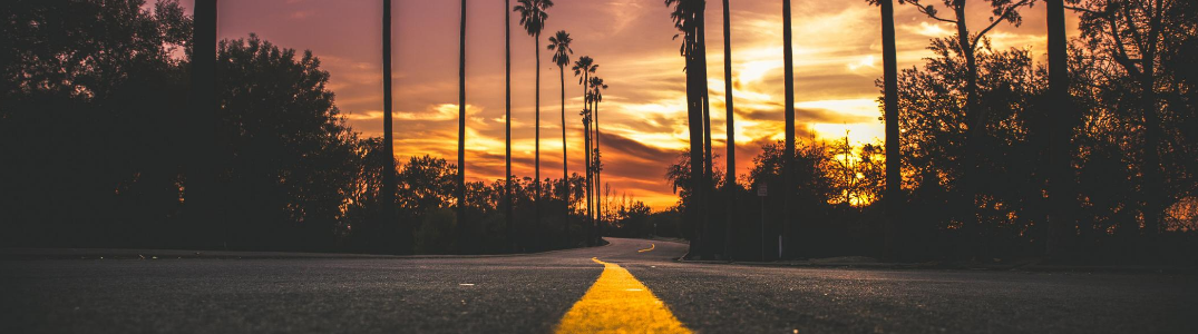 A road at sunset