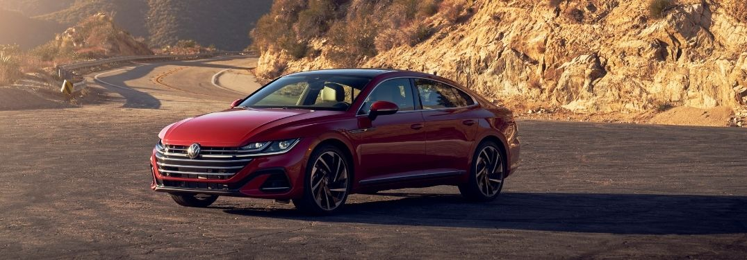 2021 VW Arteon exterior front fascia driver side in front of rocks