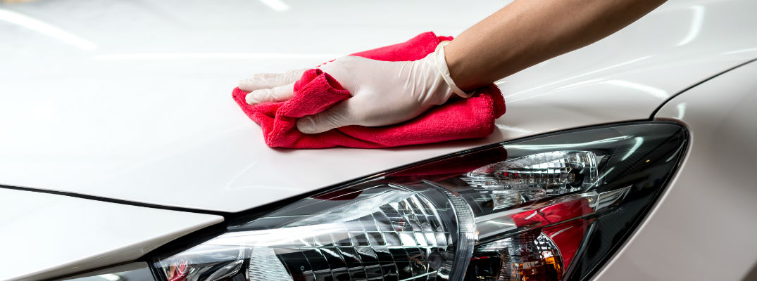 A close up of a gloved hand waxing the hood of a white sedan