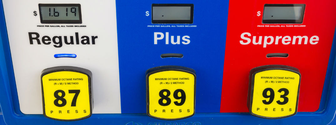 A stock photo of a gas pump with three different kinds of gasoline