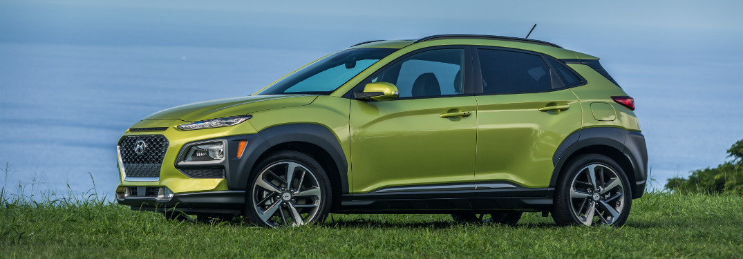 right side view of green 2018 Hyundai KONA parked in grass