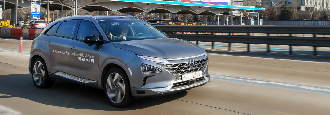 2019 Hyundai NEXO driving on road in PyeonChang, South Korea