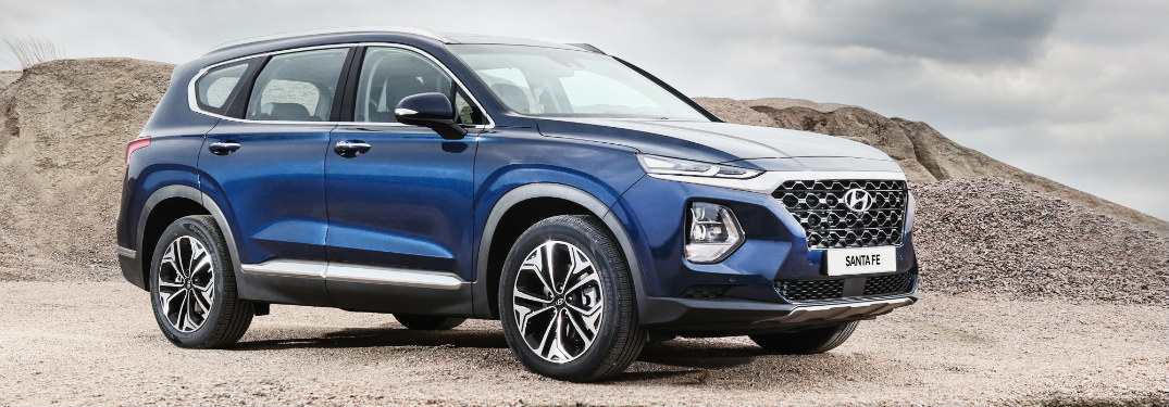 Blue 2019 Hyundai Santa Fe parked off-road