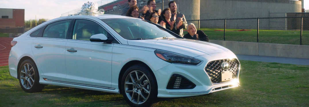 Connor Williams' family standing beside 2018 Hyundai Sonata