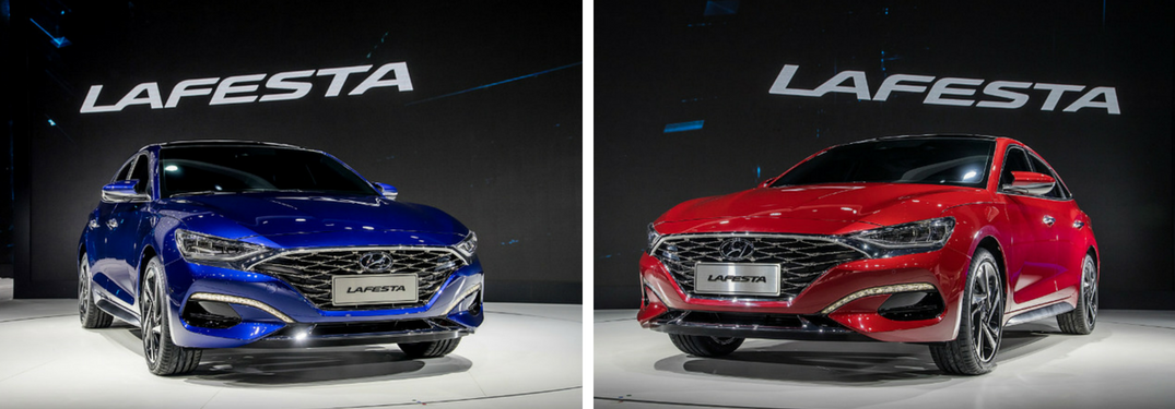 Blue and red Hyundai LAFESTA sedans side by side