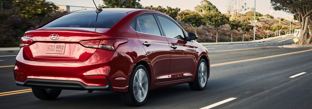 Red 2018 Hyundai Accent on open road