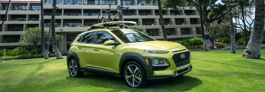 Green 2018 Hyundai Kona on grass
