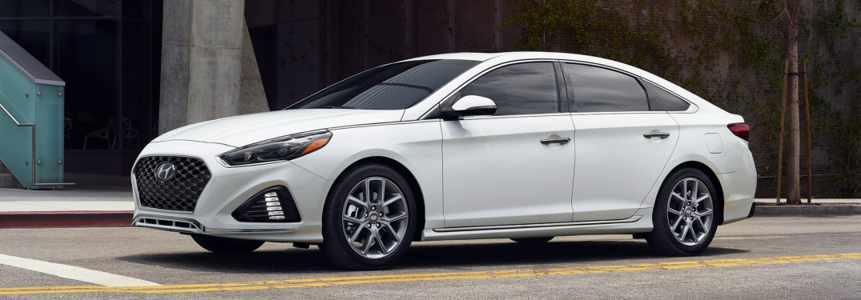 Side view of a white 2018 Hyundai Sonata