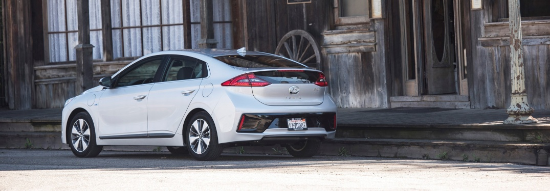 White 2019 Hyundai Ioniq parked outside building