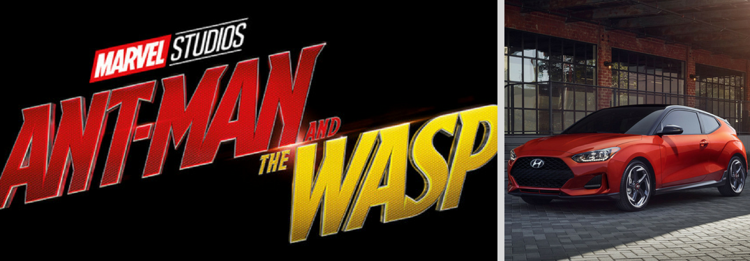 Ant-Man and The Wasp logo next to 2019 Hyundai Veloster