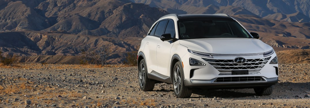 Front view of a white Hyundai NEXO