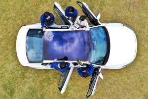 Overhead view of a Hyundai solar charging panel on a vehicle