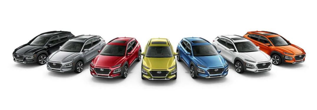 Lineup of 2019 Hyundai Kona colors on white background