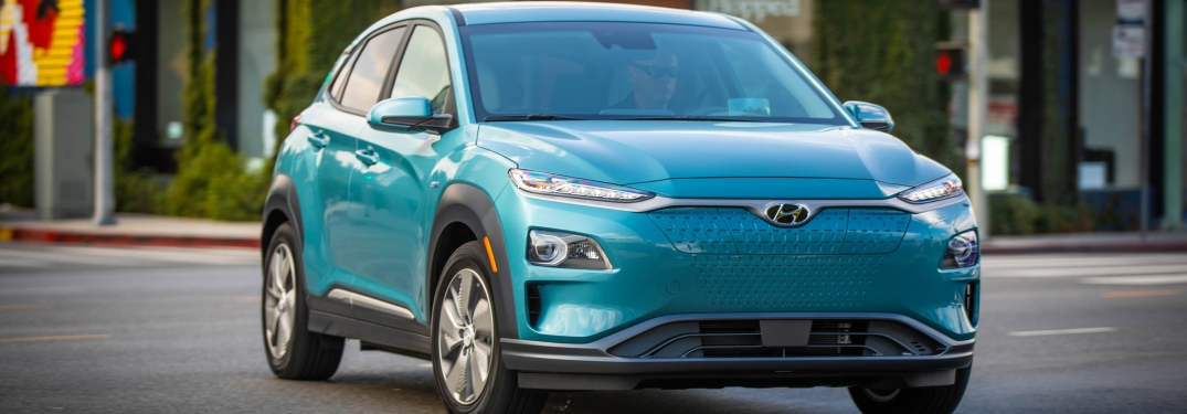Front view of a light blue 2019 Hyundai Kona