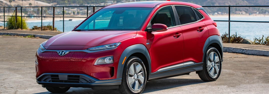Front side view of a red 2019 Hyundai Kona Electric