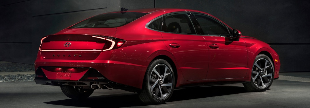Side view of a red 2020 Hyundai Sonata