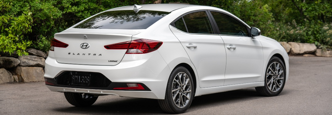 Side view of a white 2020 Hyundai Elantra