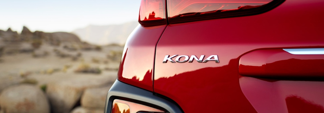 Kona badge on the back of a red 2019 Hyundai Kona