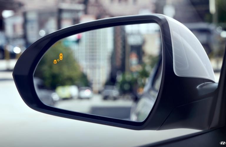 2020 Hyundai Elantra side mirror showing blind spot monitor