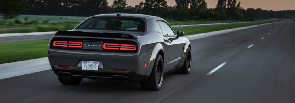 2018 dodge challenger srt demon rear view driving