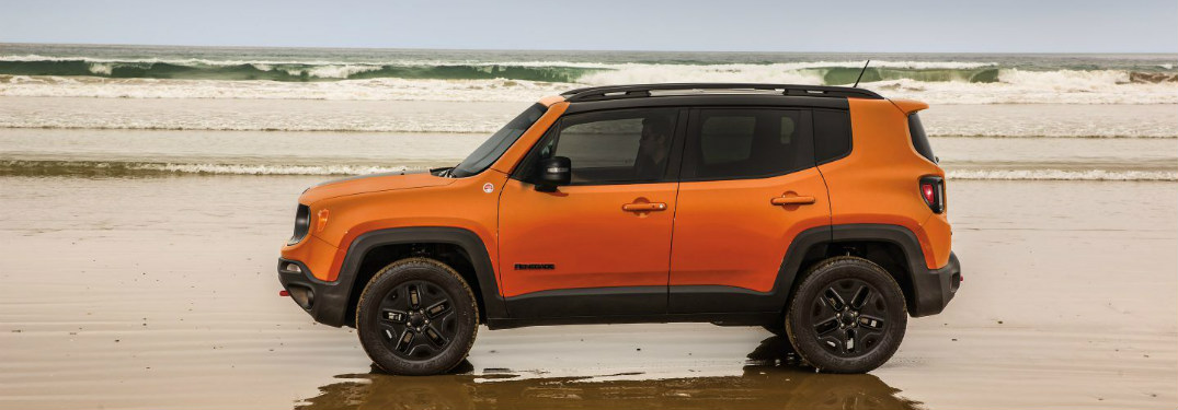 2018 Jeep Renegade parked on a beach
