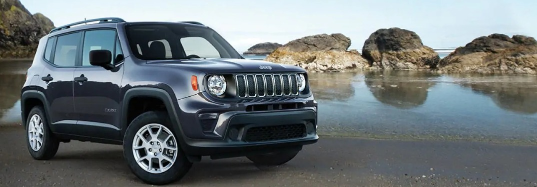 2019 Jeep Renegade parked on a rocky beach
