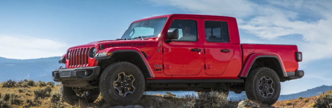 Firecracker Red 2020 Jeep Gladiator on the rock
