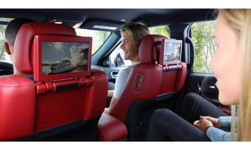 2020 Dodge Durango interior red seats showing tvs in seats