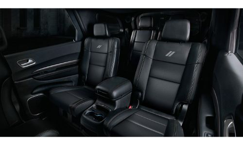 2020 Dodge Durango Interior Showing Black Leather Seats With White Dodge Logo O Renfrew Chrysler