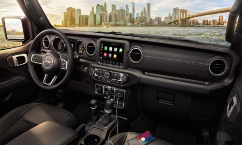 2020 Jeep Gladiator shot from over passenger seat of dashboard