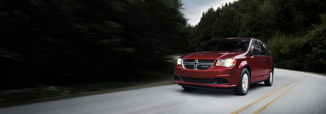 front view of a red 2020 Dodge Grand Caravan