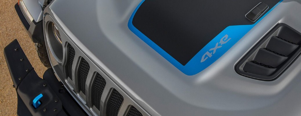 2021 Jeep Wrangler 4XE grey with black accents and blue electric accents