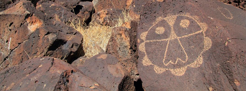 Ancient Pueblo rock paintings at Petroglyph National Monument