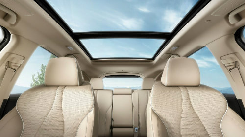 Two rows of seating inside 2019 Acura RDX with panoramic sunroof shown