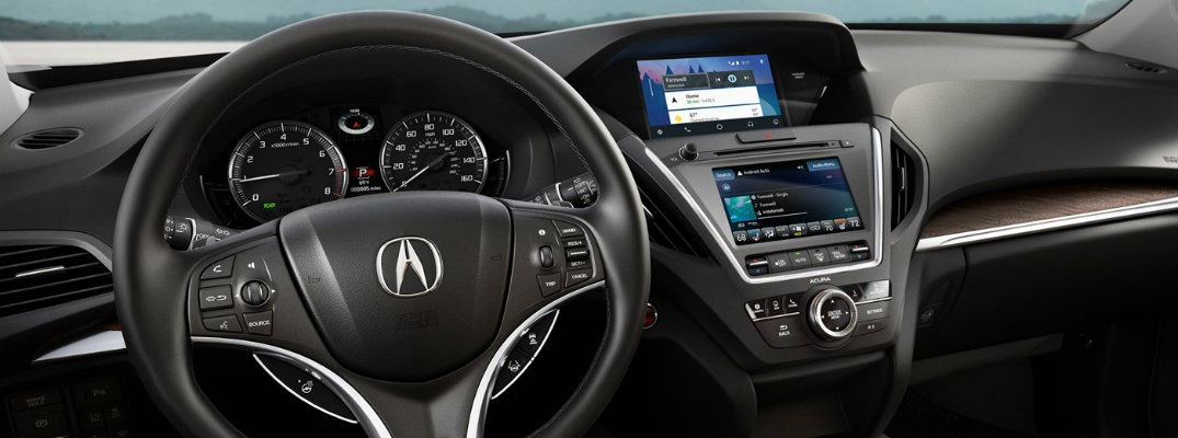 Steering wheel and dashboard of 2019 Acura MDX