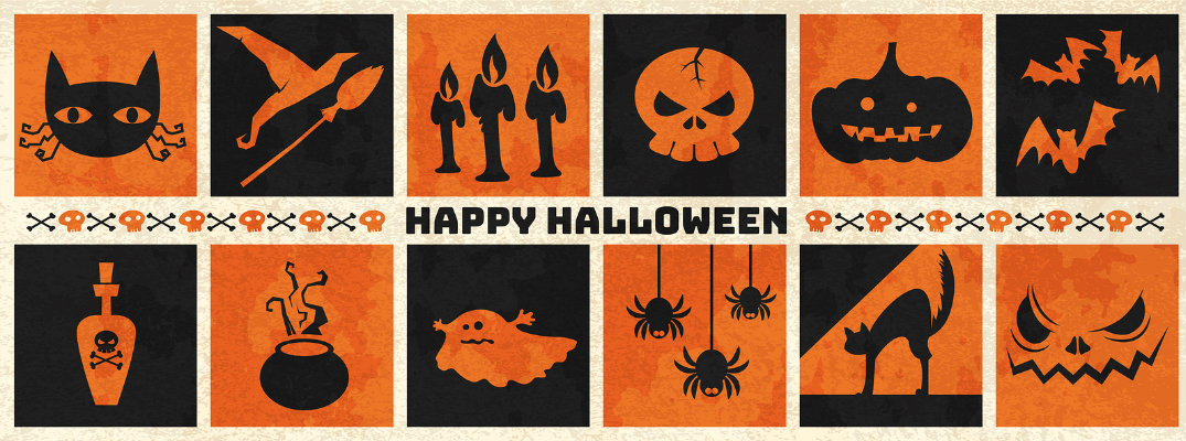Happy halloween banner featuring orange and black icons