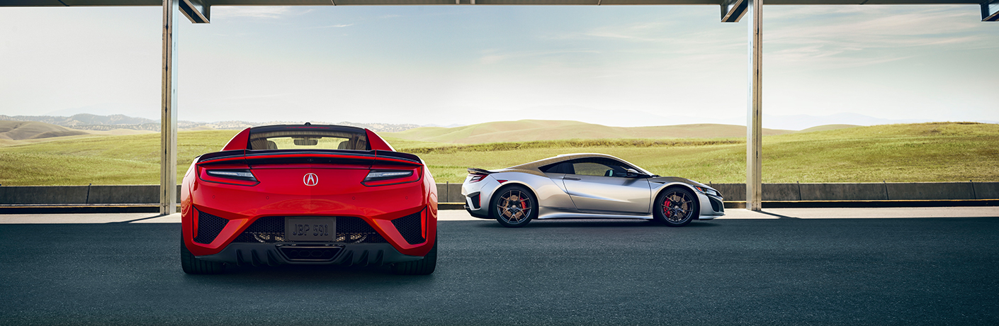 red and silver acura nsx vehicles